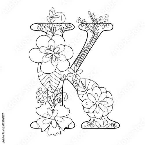 Letter K Coloring Book For Adults Vector Stock Image And Royalty Free Vector Files On Fotolia
