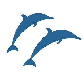 Isolated blue dolphins