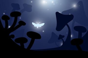 butterfly in fantasy mushroom landscape at night vector