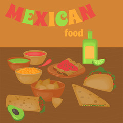 Mexican traditional food set, traditional cusine of Mexico, latino fast food menu takos, burrito