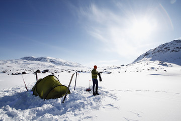 Person having camping at winter