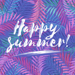 Happy summer brush lettering composition. Black phrase Happy summer on gold white striped background.