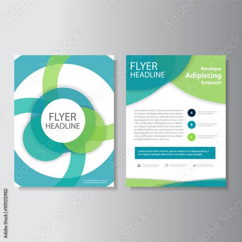 Eco Circle Green Blue Vector Leaflet Brochure Flyer Template Design