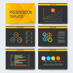 Set of vector templates for multipurpose presentation slides. Modern business design with graph and charts. Leaflet marketing advertising