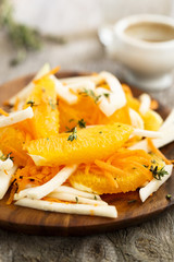 Kohlrabi salad with orange thyme and carrot