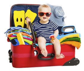 Baby Travel Vacation Suitcase. Kid in Packed Luggage, Child Holiday