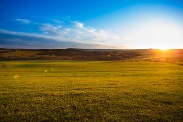 Sunset on the field.