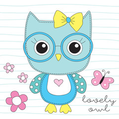 cute owl with glasses vector illustration