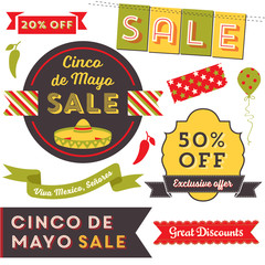 Cinco De Mayo Sale - Badges, banners, graphic elements and labels advertising a Cinco de Mayo Mexican Holiday sale.