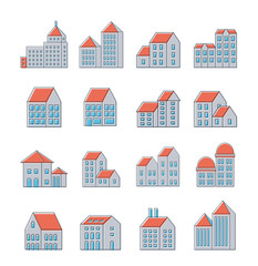 Vector set of linear urban buildings icons and illustrations of houses and architectural signs.
