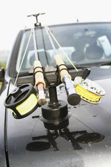 Fishing rods on car