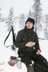 Hunter having a coffee break