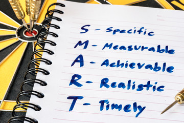 Words S M A R T (SMART) in notebook and dart target on bullseye of dartboard, Goal target success business investment financial strategy concept, abstract background