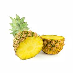 Cut in half ripe pineapple