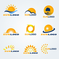 Sun logo (have Trees, clouds and water to composition) vector set art design