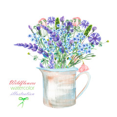 An illustration with a bouquet of the beautiful blue Myosotis flower, cornflowers and lavender flowers in a rustic jar, isolated hand drawn in a watercolor on a white background