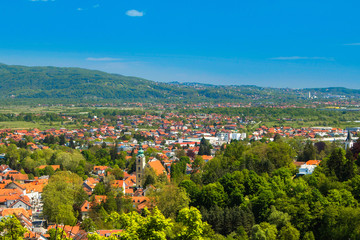 Panoramic view of the center of town of Samobor, northern Croatia