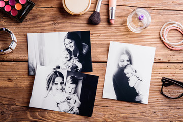 Mothers day composition. Black-and-white pictures and make up pr