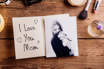 Mothers day composition. Black-and-white picture, greeting card