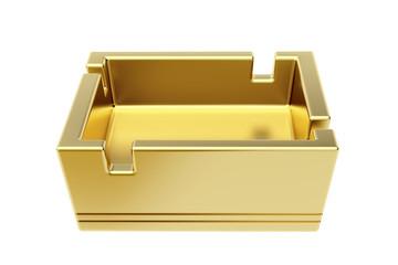 Golden ashtray isolated on white