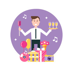 Event Manager Surrounded by Event and Party Objects. Event Management and Event Agency  Illustration