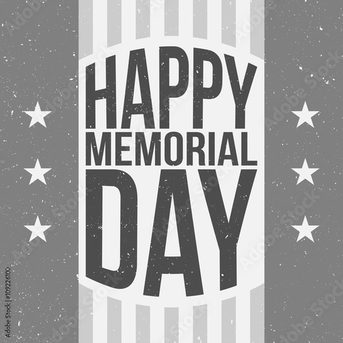 happy memorial day poster template with text stock image and