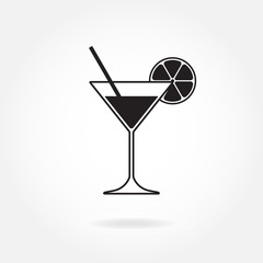 Cocktail icon or sign. Martini glass with lemon and drinking straw. Vector illustration.