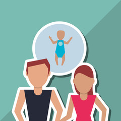 Flat illustration of family design, people icon