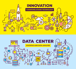 Vector creative concept illustration of data center and innovati