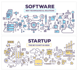 Vector creative concept illustration of software and technology