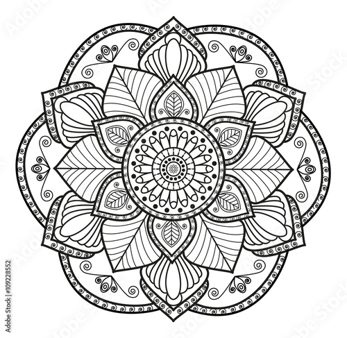 Quot Black And White Mandala Vector For Coloring Mandala In
