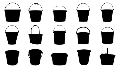 bucket silhouettes Wall mural