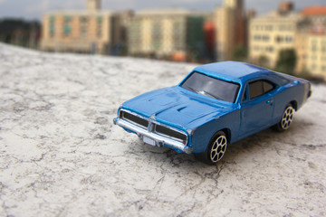 Model of vintage blue car