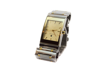 Golden wristwatch with date