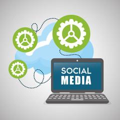 Social media design. laptop icon. networking concept