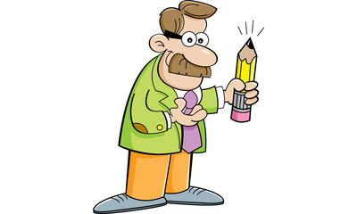 Cartoon illustration of a man holding a pencil.