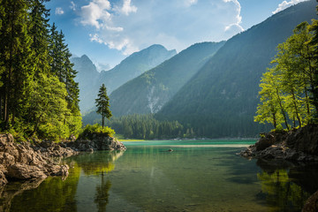 alpine lake Di Laghi Fusine . Dolomites . Italy Wall mural