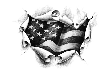 View of the American flag through the big breakthrough in the paper