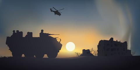 Soldats - Ville détruite