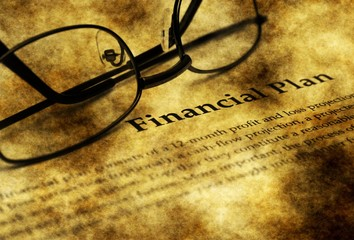 Financial plan grunge concept