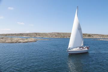 Sailing boat at sea