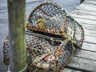 Lobster traps on jetty