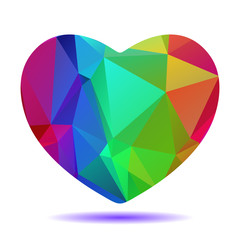 polygonal bright rainbow heart