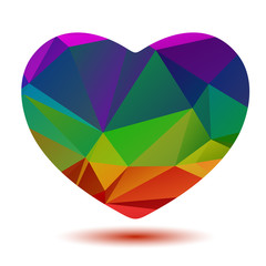 polygonal rainbow heart