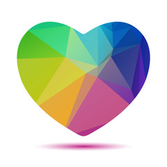 rainbow bright polygonal heart