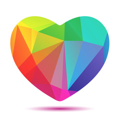 bright polygonal rainbow heart