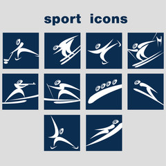 A set of sport icons. Winter games icon set.