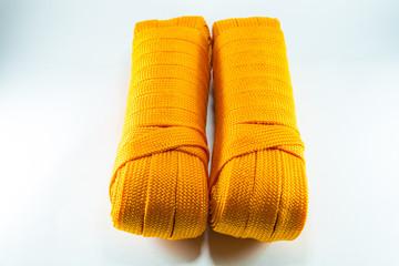 Orange rope rolls flat