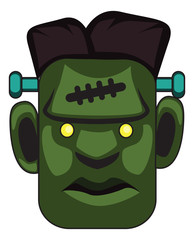 Cartoon frankenstein monster face