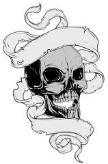 Skull tatto and ribbon